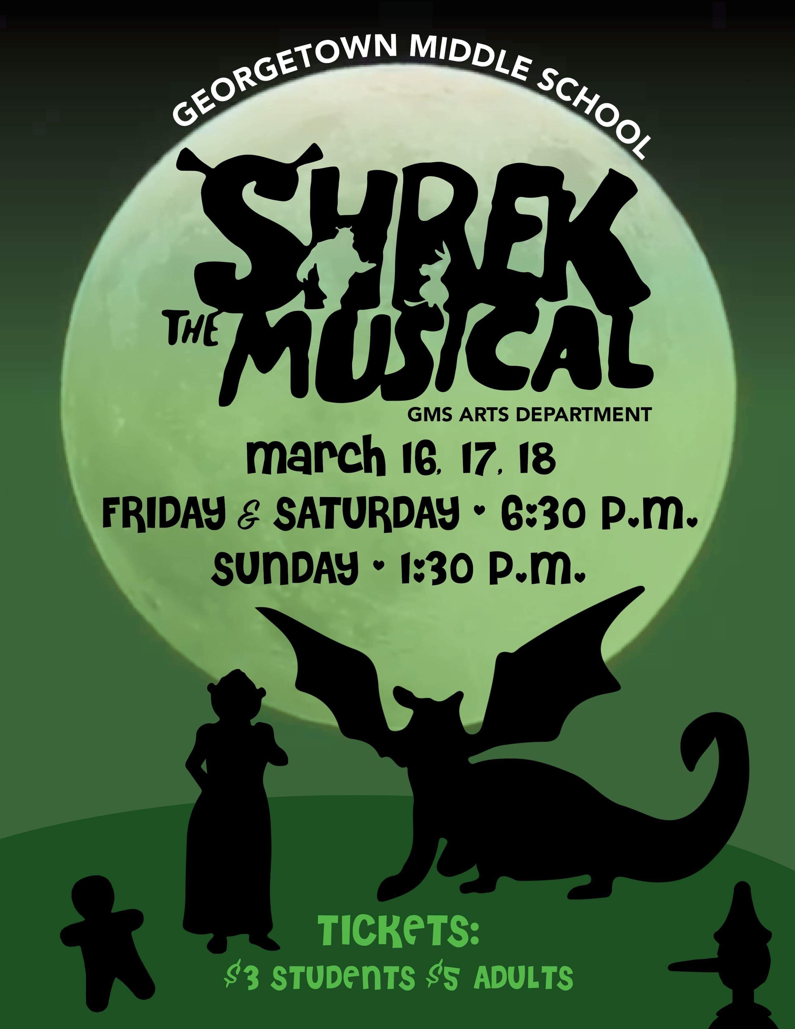 Come see the GMS Drama Department's performances of Shrek.